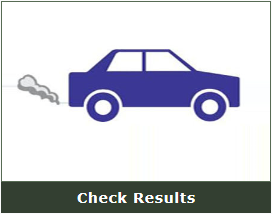 "Car with tailpipe emissions and ""Check Results"" prited below."
